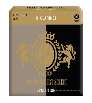 Rico Grand Concert Select Evolution Bb Clarinet Reeds, Strength 4.5, 10-pack