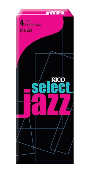 Rico Select Jazz Tenor Sax Reeds, Filed, Strength 4 Strength Soft, 5-pack
