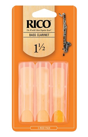 Rico Bass Clarinet Reeds, Strength 1.5, 3-pack