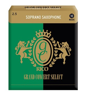 Rico Grand Concert Select Soprano Sax Reeds, Strength 2.5, 10-pack