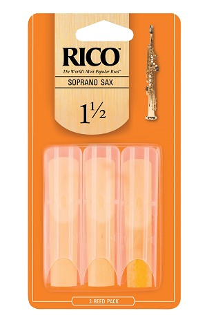 Rico Soprano Sax Reeds, Strength 1.5, 3-pack