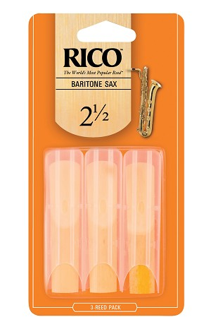 Rico Baritone Sax Reeds, Strength 2.5, 3-pack