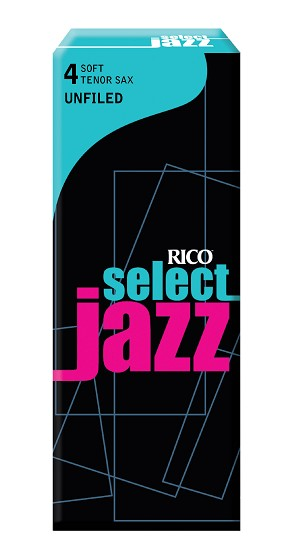Rico Select Jazz Tenor Sax Reeds, Unfiled, Strength 4 Strength Soft, 5-pack
